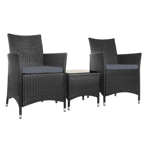 3pc Rattan Bistro Wicker Outdoor Furniture Set Black