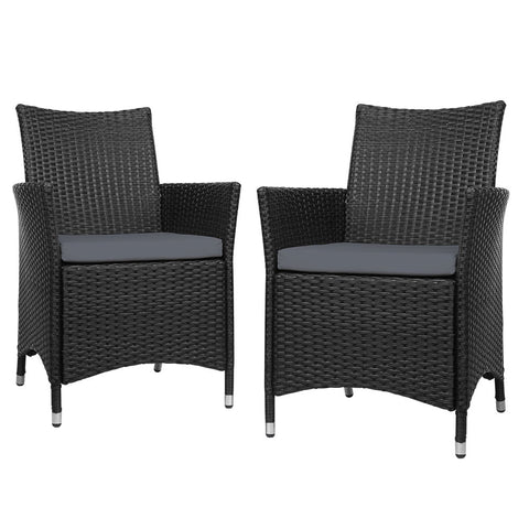 Bistro Set Chairs Patio Furniture Dining Wicker Garden Cushion x2 Gardeon
