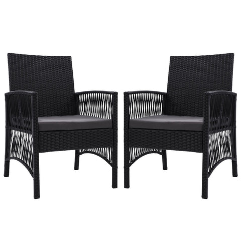 Dining Chairs Rattan Garden Patio Cushion Black x2 Gardeon