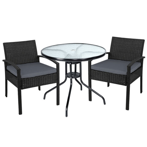 Outdoor Furniture Dining Chairs Wicker 3PCS Sofa Set Tea Coffee