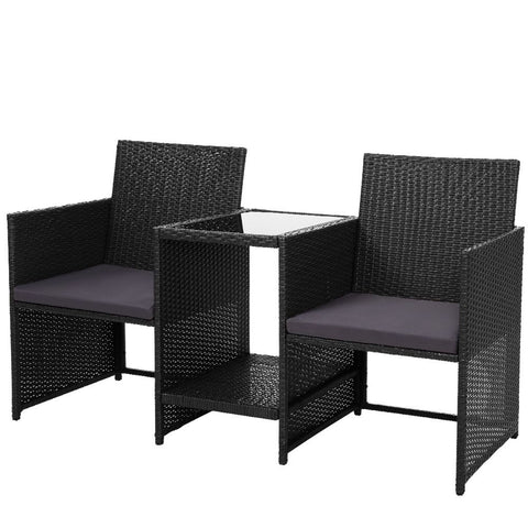 Outdoor Setting Wicker Loveseat Birstro Set Patio Garden Furniture Black