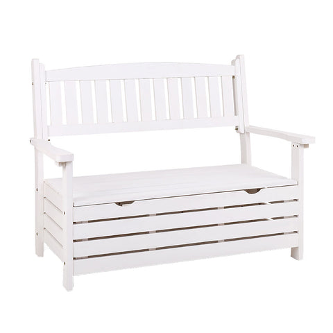 Outdoor Storage Bench Box Wooden Garden Chair Timber Furniture White