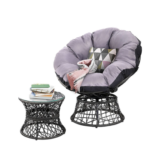 Gardeon Papasan Chair and Side Table - Black