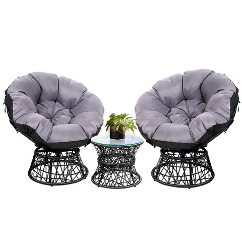 Papasan Chair and Side Table Set- Black