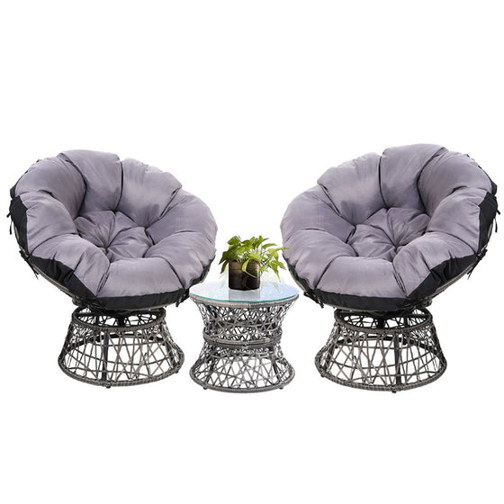 Papasan Chair and Side Table Set- Grey