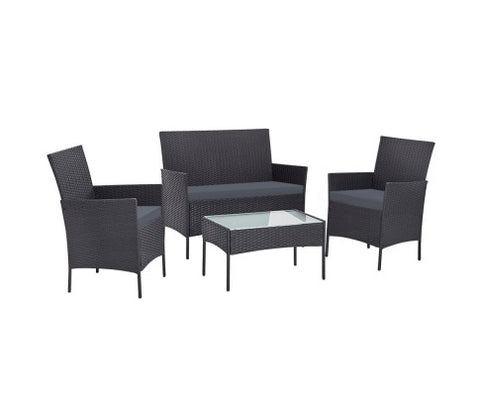 Outdoor Furniture Rattan Set Chair Table Dark Grey 4pc