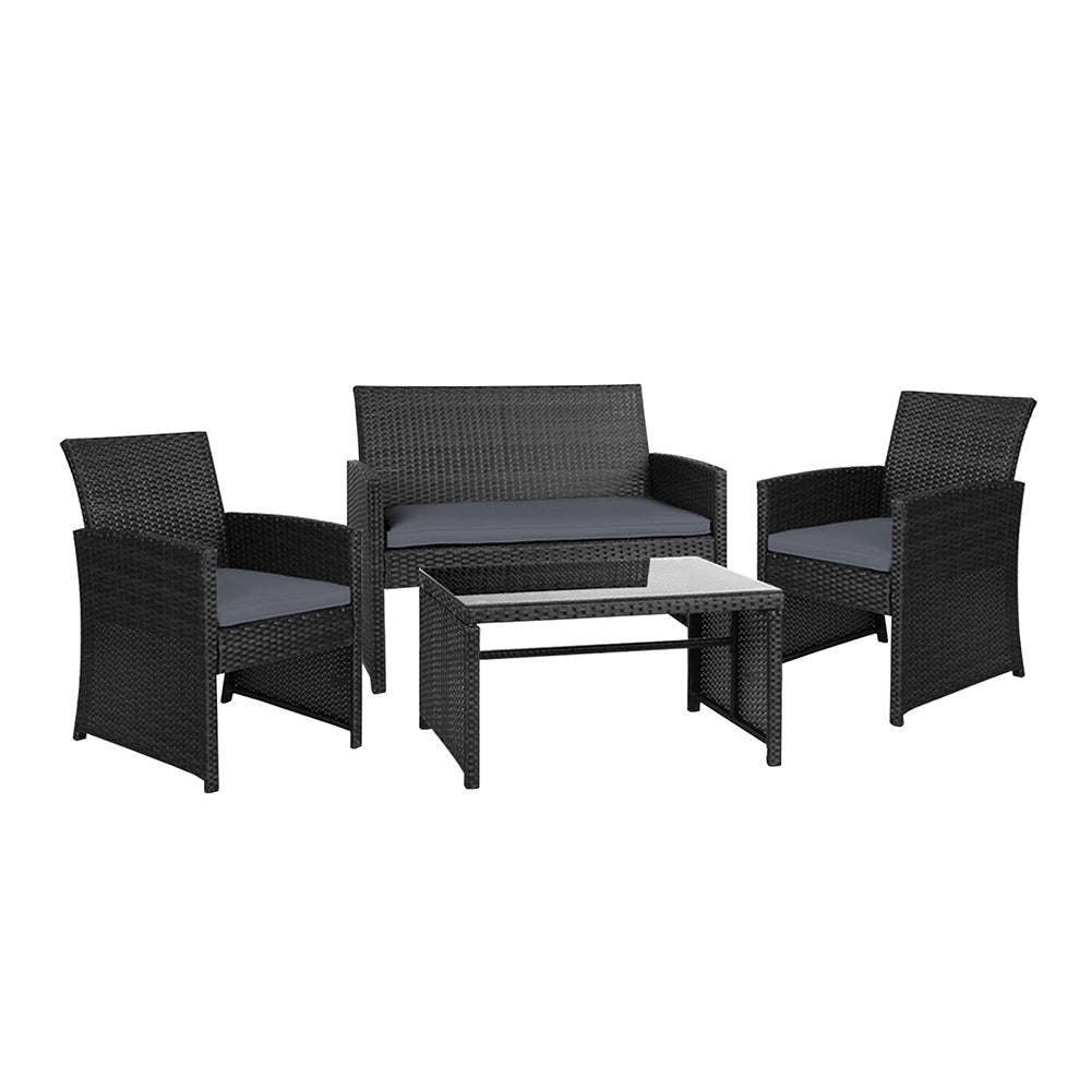 Set of 4 Outdoor Rattan Chairs & Table - Black