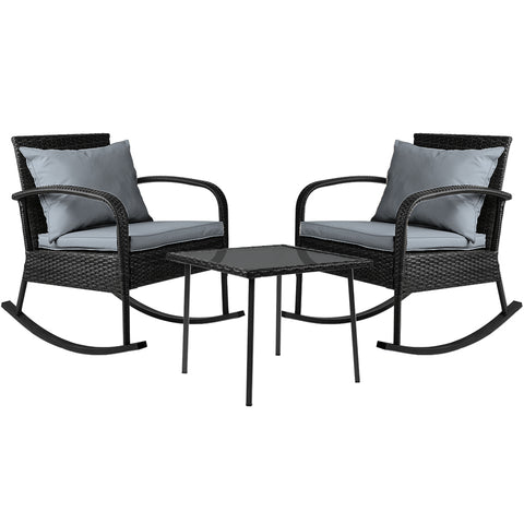 3 Piece Outdoor Chair Rocking Set - Black