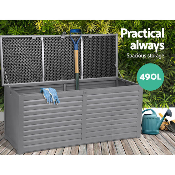 Outdoor Storage Box Bench Seat Garden Sheds Chest 490L