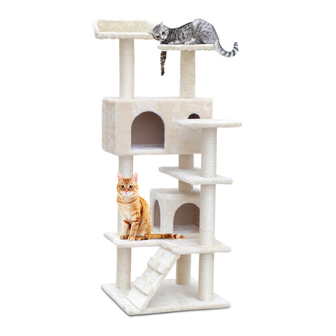 Cat Tree 134cm Trees Scratching Post Scratcher Tower Condo House Furniture Wood Beige