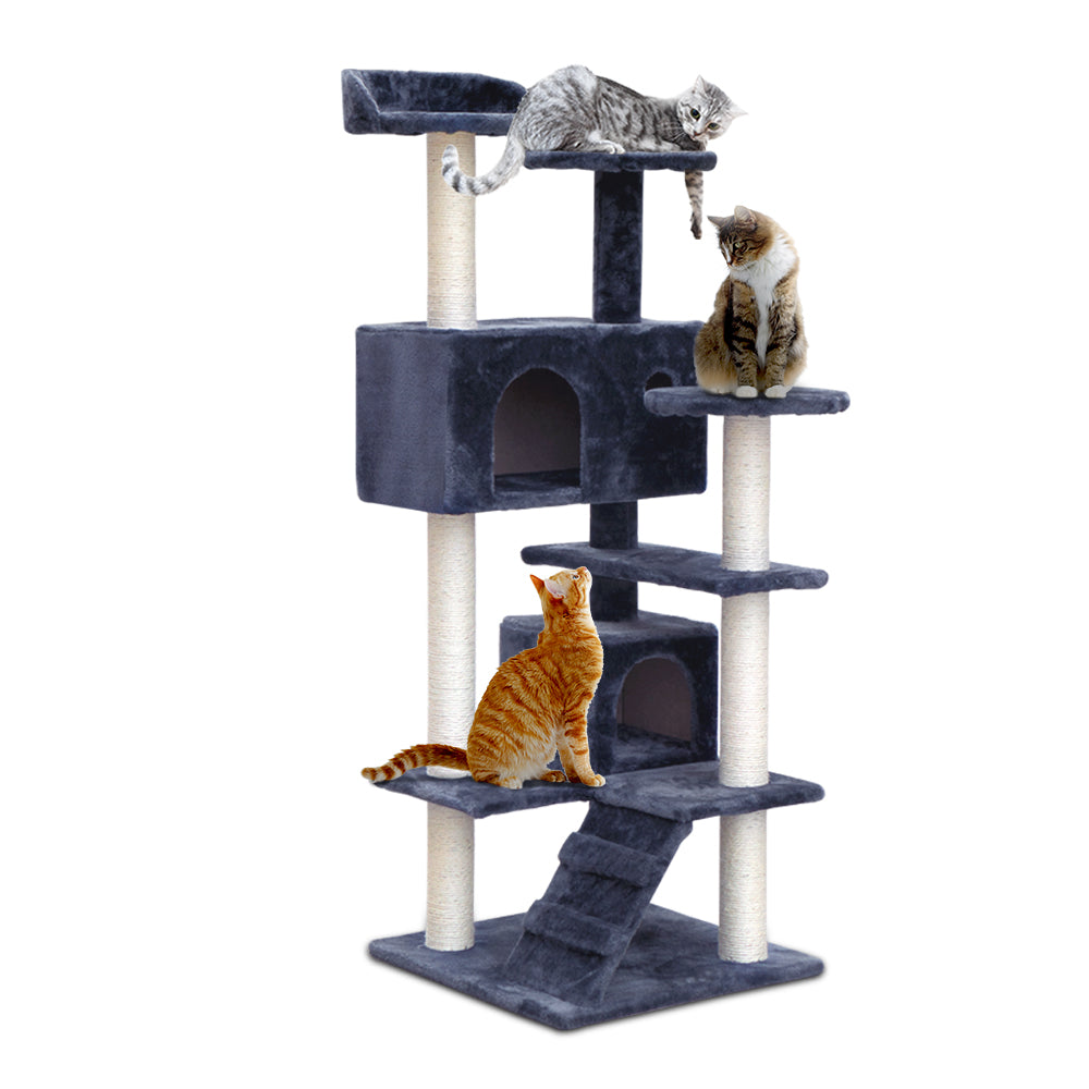 Cat Tree 134cm Trees Scratching Post Scratcher Tower Condo House Furniture Wood Grey