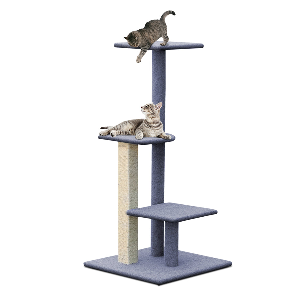 Cat Tree 124cm Trees Scratching Post Scratcher Tower Condo House Furniture Wood Steps