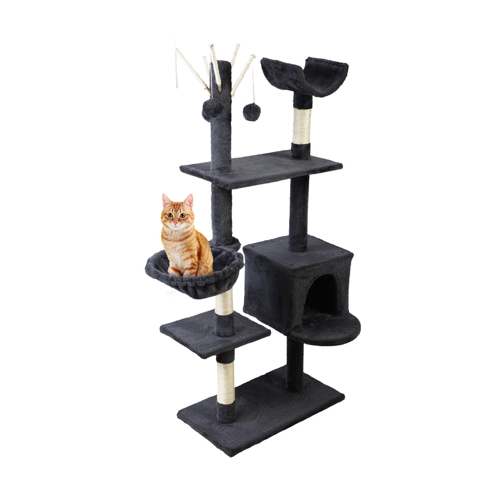 Cat Tree 140cm Trees Scratching Post Scratcher Tower Condo House Furniture Wood