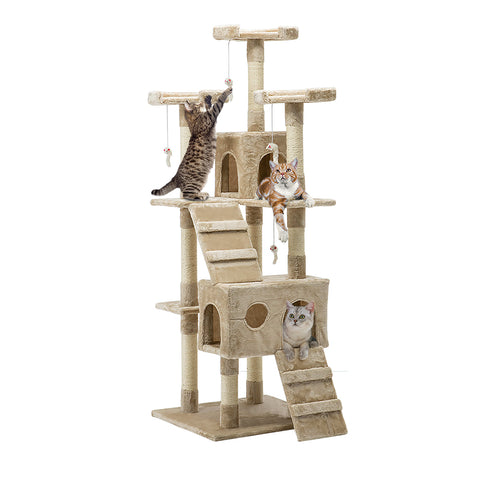 Cat Tree 180cm Trees Scratching Post Scratcher Tower Condo House Furniture Wood Beige