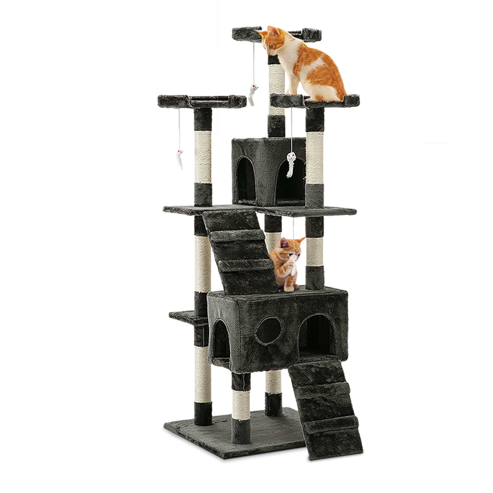 Cat Tree 180cm Trees Scratching Post Scratcher Tower Condo House Furniture Wood
