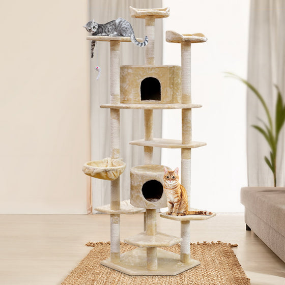 Cat Tree 203cm Trees Scratching Post Scratcher Tower Condo House Furniture Wood Beige