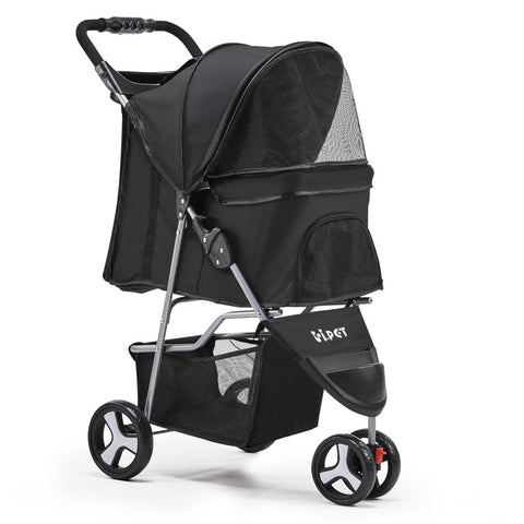 Pet 3 Wheel Pet Stroller - Black