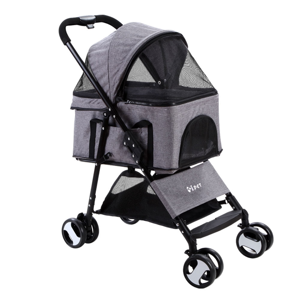 Pet Stroller Dog Carrier Foldable Pram 3 IN 1 Middle Size Grey