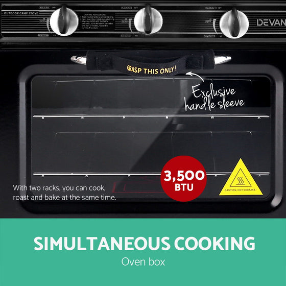 Portable Gas Oven and Stove Black and Yellow