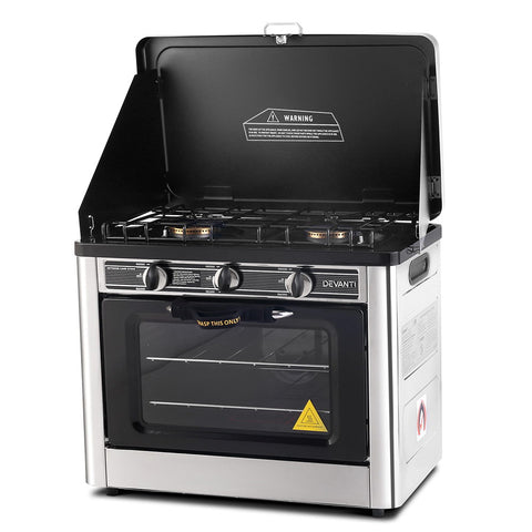 Portable Gas Oven and Stove Silver and Black