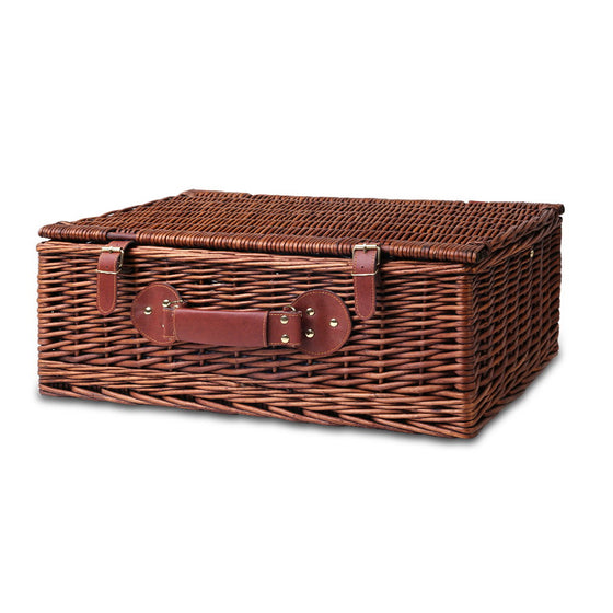 4 Person Picnic Basket Baskets Handle Outdoor Insulated Blanket
