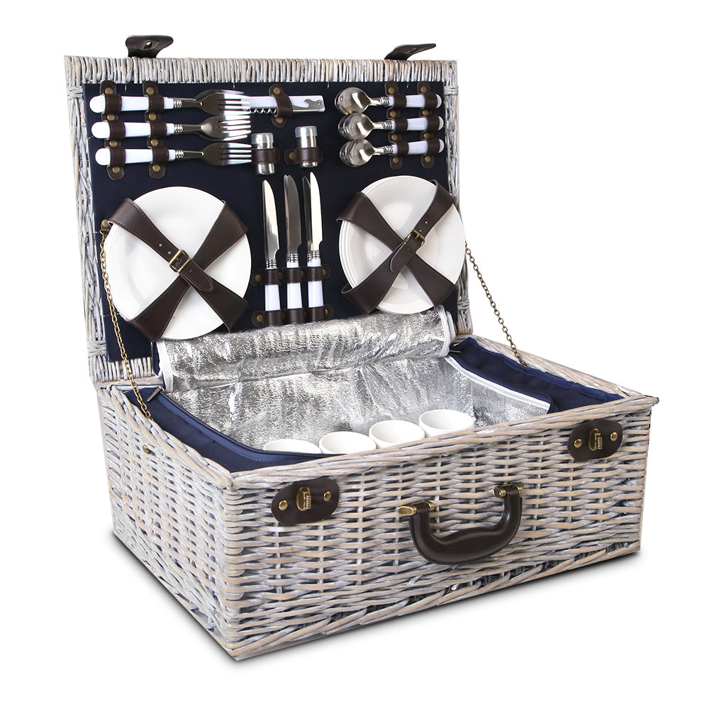 6-Person Picnic Basket Cooler Bag Wicker PU Fastening Straps Plates