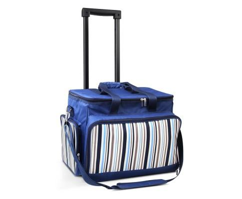6 Person Picnic Bag Trolley Set - Blue