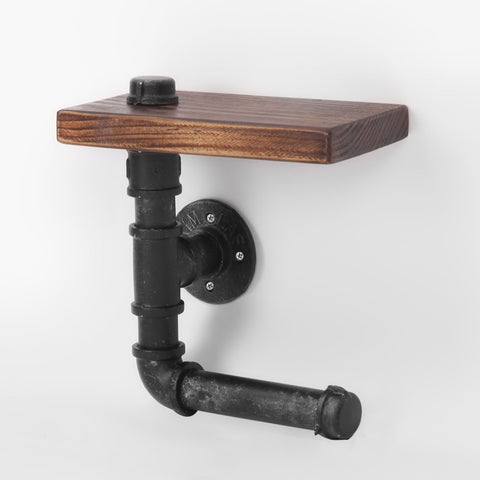 Rustic Industrial DIY Floating Pipe Shelf Paper Holder
