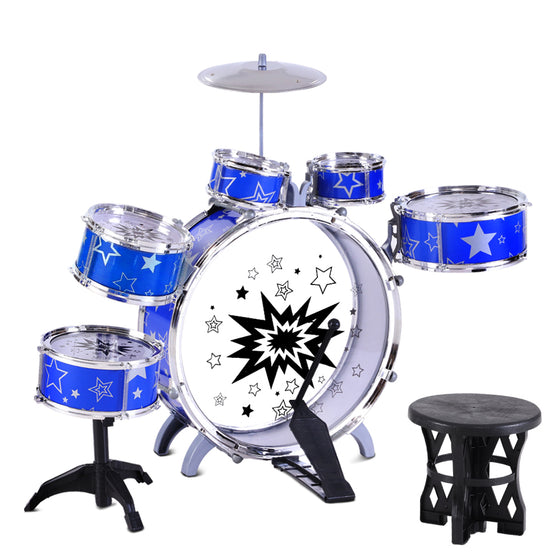 Blue Kids Drums 8 Piece Set