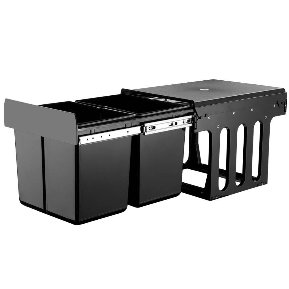 2x15L Pull Out Bin - Black