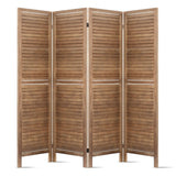 Room Divider Privacy Screen Foldable Partition Stand 4 Panel Brown