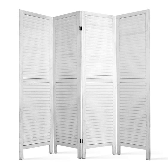 4 Panel Foldable Wooden Room Divider - White
