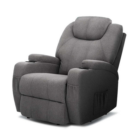 Recliner Electric Massage Chairs Heated Fabric Grey
