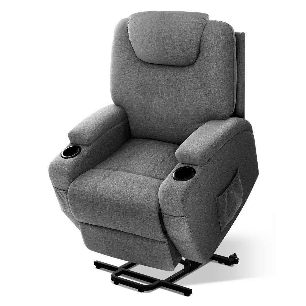 Electric Massage Chair Recliner Sofa Lounge Lift Motor Armchair Heating Fabric