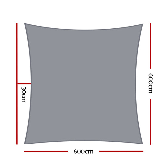 Sun Shade Sail Cloth Shadecloth Outdoor Canopy Square 280gsm 6x6m