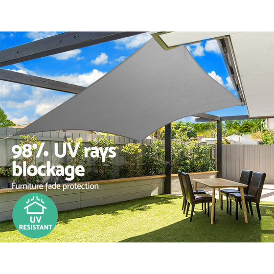 Sun Shade Sail Cloth Outdoor Canopy Rectangle 280gsm 6x8m