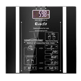 Electronic Digital Body Fat & Hydration Bathroom Glass Scale Black