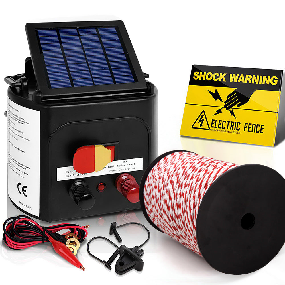 Electric Fence Energiser 5km Solar Powered Charger + 500m Rope