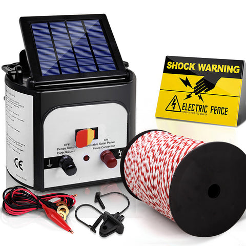 Electric Fence Energiser 8km Solar Powered Charger + 500m Polytape Rope