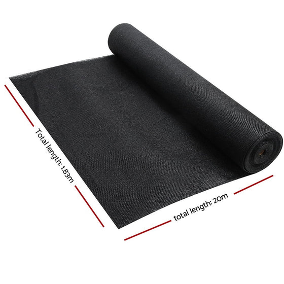 Instahut 50% Sun Shade Cloth Shadecloth Sail Roll Mesh 1.83x20m 100gsm Black