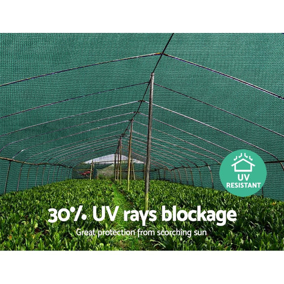Instahut 3.66x30m 30% UV Shade Cloth Shadecloth Sail Garden Mesh Roll Outdoor Green