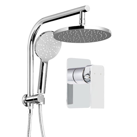 Round 9 inch Rain Shower Head and Mixer Set Bathroom Handheld Spray Bracket Rail Chrome