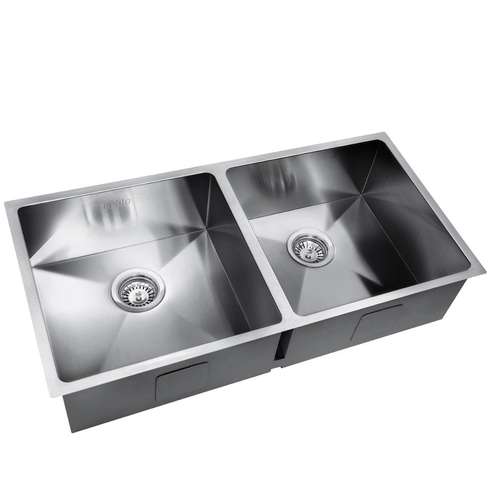 Stainless Steel Kitchen Sink 865X440MM Under/Topmount Laundry Double Bowl Silver