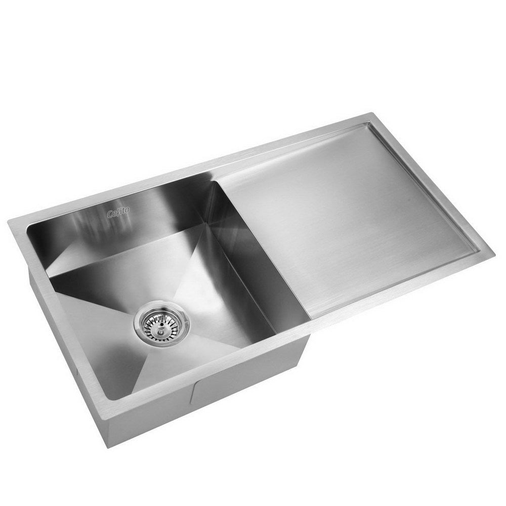 Stainless Steel Kitchen Sink 870X450MM Under/Topmount Sinks Laundry Bowl Silver