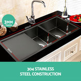 Stainless Steel Kitchen Sink 100X45CM Under/Topmount Laundry Double Bowl Black