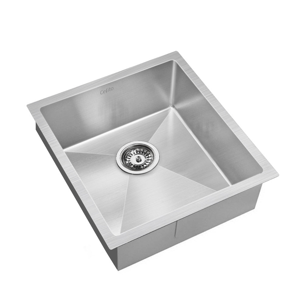 Stainless Steel Kitchen Sink 440X450MM Nano Under/Topmount Sinks Laundry Silver