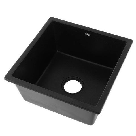 Cefito Stone Kitchen Sink 450X450MM Granite Under/Topmount Basin Bowl Laundry Black