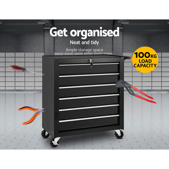 Tool Box Trolley Chest Cabinet 6 Drawers Cart Garage Toolbox Set Black