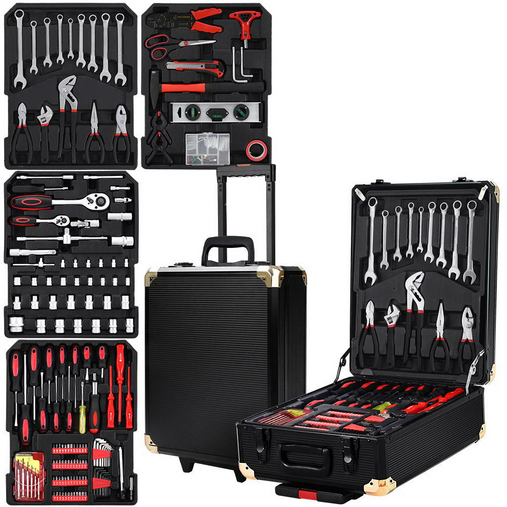 816pcs Tool Kit Trolley Case Mechanics Box Toolbox Portable