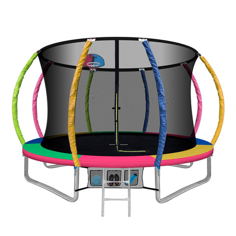 10FT Round Trampoline  With Basketball Hoop Outdoor Kids Multi-coloured